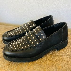 New Michael Kors studded leather black loafers